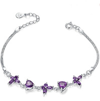 [Free Shipping] 925 Sterling Silver Romantic Purple Cubic Zirconia Sparkle Women Bracelets 2014 new