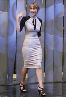 Classic Half Sleeve Color Blocking Womens Career Formal Pencil Midi Dress