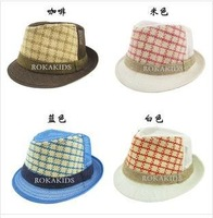new 2014 Children's Summer breathable checkered hat(freeshipping)