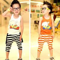 2014 Summer cotton children clothing sets puppy vest & striped half pants fashion boys girls twinset suits white/orange 625060