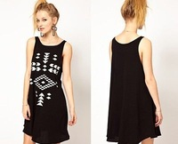 Hot Sales ! Women's Sexy Sleeveless O-neck Geometric Patterns Black Fashion Dress RCC-D093