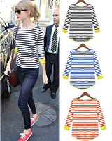 Hot Sales ! Hot Street Style ! Fashion Women T shirt Long Sleeve Bottoming Shirt Stripes Three Colors RCC-D068