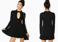 Hot Sales ! Top Women Long Sleeve Dress Casual Slim Chest Hollow Bodycon Dress Sexy RCC-D222