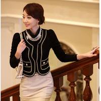 Hot new fashion korean spring women outerwear elegant ol slim all-match lace medium-long blazer fashion coat jacket