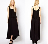 Hot Sales ! Women's Sexy Asymmetric Hem Sleeveless Fashion Black Slim Long Dress RCC-D090