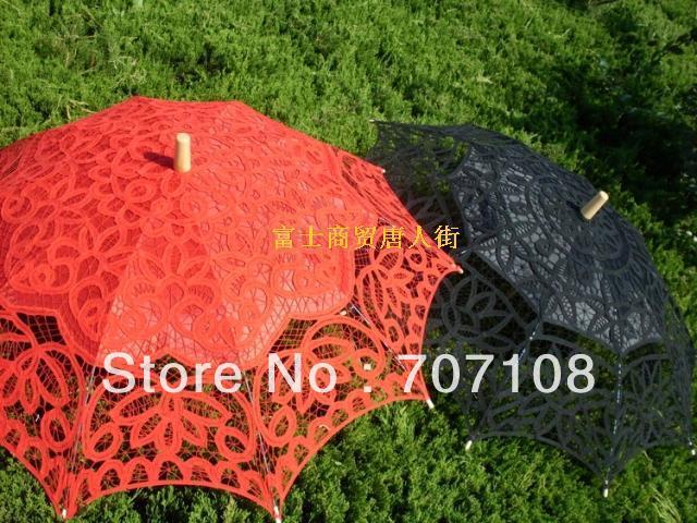 Cor vermelha Weddding bordado Lace Umbrella guarda sol guarda sol Top venda o mesmo fã será enviada para o presente de frete(China (Mainland))