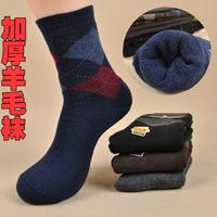 Free shipping 2014 winter thickening towel socks wool rabbit ring socks british style commercial male socks