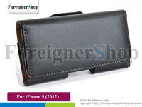 100 PCS For Iphone 5 5S 5g 5th PU Smooth Horizontal Leather Case Cover Skin With Hip Belt Clip Holster