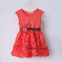 Newest Fashion Toddler Girls Dress Red Rose Children Spring And Summer Chiffon And Cotton Dresses For Baby Wedding Dress