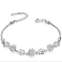 [Free Shipping] 925 Sterling Silver Cublic Zirconia Sparkle Women Bracelet