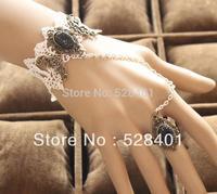 Bracelet ring chain integrated female agitation restoring ancient ways white lace Bohemia jewelry bracelet