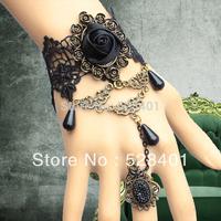 Bohemian black flower bud silk women's bracelet with restoring ancient wayschain gothic