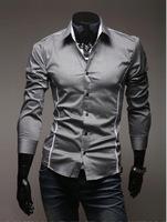 hot sale New arrive Men's Casual Slim Fit Stylish long -sleeve shirt