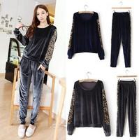 Velour Hoodie Track Suit Leopard grain stitching Outfit Woman Pants TRACKSUIT