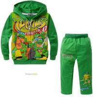 Free Shipping ! 100%Cotton  Children coat Teenage Mutant Ninja Turtles   pocket cotton hooded Tong Set