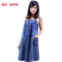 2014 summer maternity clothing  maternity all-match braces denim dress suspender  dress for pregnant women cute one-piece dress