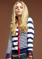 spring autumn women's pocket female navy style preppy style stripe cardigan sweater free shipping