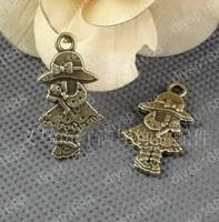 Fashion Jewelry Findings Accessories charm pendant alloy bead Antique Bronze 16*31MM girl shape 60PCS JJA2574