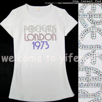 Fashion summer 2013 women's white cotton diamond paillette letter logo pattern slim all-match short-sleeve T-shirt
