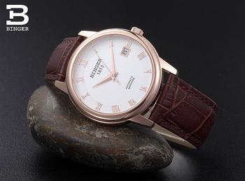 2014 швейцарский наручные часы бингер мужчины self-ветер часы сапфир кожаный ремешок часы мужчины 12-месяц гарантия BG-0388