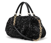 New 2014 Women Black Sequins Handbags Fashion High Street