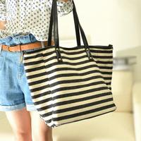 Small bag fashion canvas shoulder bag navy style dumpling canvas bag color block stripe bag female bag