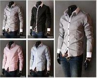 HOT !! Men's Slim Luxury Stylish Casual Shirts M L XL XXL Grey/Light blue/Pink/Black/white Wholesale & Retail