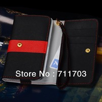 New Pouch Bag Case Cover For Samsung S4 i9500 S3 i9300 S2 i9100 for HTC One X for Lenovo A800 A820 Wallet Case With Card Holder