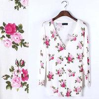 roupas femininas rushed women blouse blusas femininas 2014 spring new korean fashion slim thin wild flower print sweater 311