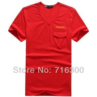 Free Shipping New 2014 DSQ T-Shirts For Men Pocket V-Neck Short sleeve High Quality Brand Fashion Summer D2 Men's T Shirt DT196