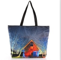 WHOLESALE 2014 Female Students Shopping Canvas Fashion  Lovely Cabin Digital Printed Galaxy bag Free shipping GH-11