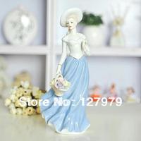 on sale!!! Modern home furnishing statue, ceramic crafts statue, Flower basket girl, free shipping!!!