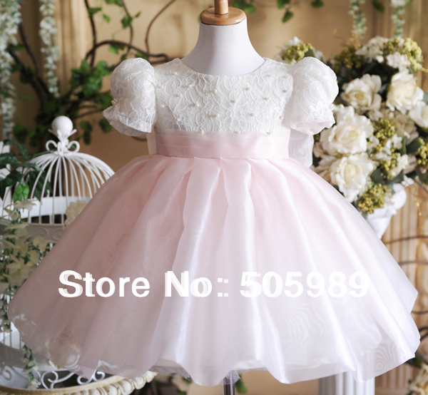 Free real direct selling 2014 flower girl formal dress children baby girls dresses lovely princess ro wedding kids clothes pink(China (Mainland))