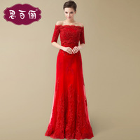 Goingwedding2014 married the bride evening dress red long slit neckline design evening dress