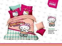 Hello kitty online girls cartoon full king queen size cotton 3d linens sheet bedding set comforter sets duvet covers bedclothes