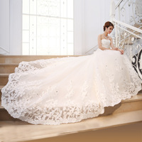New arrival 2014 bride wedding formal dress luxury big train tube top long trailing hunsha