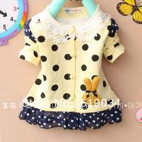 free shipping wholesale spring autumn Female child 100% cotton dot rabbit cardigan 1 - 3 years childrens t-shirt girl's clothing