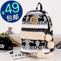 Free Shipping 14 winter coral fleece  casual bag student school bag
