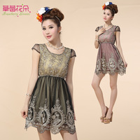 Heavy spring and summer 2014 gold embroidered gauze tutu dress new round neck short sleeve dress