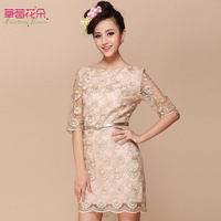 Korean brand new spring 2014 women's gold lace sleeve dress Slim thin skirt bottoming