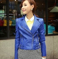 2014 new Korea elegant women slim casual leather PU jacket spring autumn polo collar agrafe plus big size zipper short coat