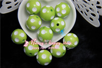 Free shipping 100PCS/Lot lime green Color 20MM Resin Polk Dot Beads, Acrylic Round Chunky Beads for Chunky Necklace Jewelry