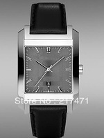Free shipping+ wholesale! Swiss Made Square Face Gray Dial Black Leather Mens's Watch BU1571.