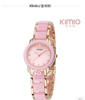 Hot Sale Brand  Kimio 2014 Ladies Ceramic Luxury Bracelet Watches with Ceramic fine steel strap Free shipping K455L