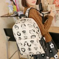 New 2014 Women Cut Owl Bag Canvas Backpack School bag Preppy Style Printing backpack 12 Colours White Cartoon school backpacks
