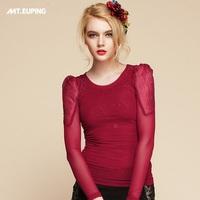 2014 spring ultra-thin comfort air conditioning elastic spandex net fabric sparkling diamond basic shirt o-neck t-shirt