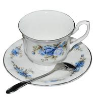 New bone china coffee cup fashion milk cup with tray bone china and saucer mug set casual cqua tall flowers coffee cup with dish
