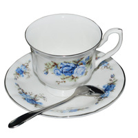 New bone china coffee cup fashion milk cup with tray bone china and saucer mug set casual cqua tall flowers coffee cup with dish