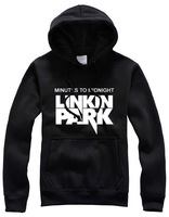 Sweatshirt pocket hat shirt outerwear autumn and winter thickening plus velvet linkin park band plus size available