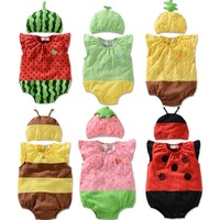 Baby suits!  New arrival! 2014 Summer Romper lovely fruit suits, short-sleeved Romper + hat  TJ-T0124